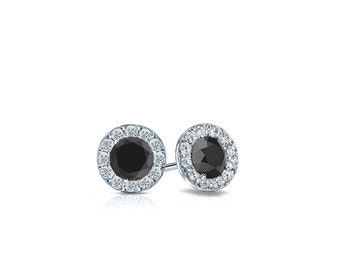 14k Gold Halo Round Black Diamond Stud Earrings 0.50 ct. tw.