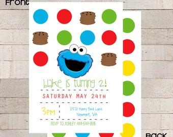 Sesame Street Chevron Birthday Invitations- PRINTABLE- Cookie Monster- Custom- Modern- Boys Birthday-  Modern- Cookie Monster Party