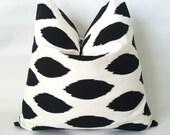Black & White Pillow Cover. 16 x 16. One. Black Ikat. Black and White Polka Dot. Nautical Pillows. Modern Pillows. Cushion Cover
