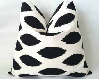 Black & White Pillow Cover. 16 x 16. One. Black Ikat. Black and White Polka Dot. Nautical Pillows. Modern Pillows. Cushion Cover