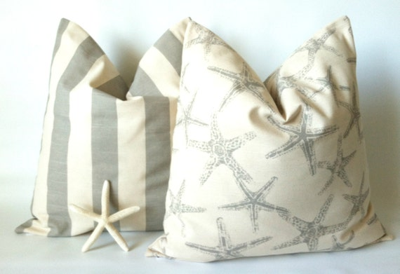 nautical pillow cover set 20 x 20 beach by theseafoamcottage. Black Bedroom Furniture Sets. Home Design Ideas