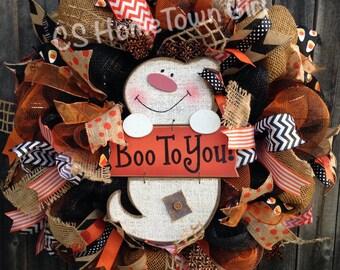 BOO to You! Halloween Burlap Wreath