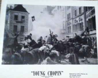 """Vintage collectible set of 8 x 10 black and white photographs of the Polish film """"Young Chopin"""". 6 photos"""