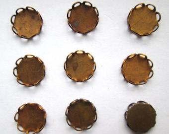 9 Vintage Cabochon Brass Settings
