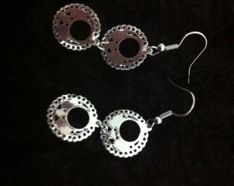 Double Circle Silver Earrings, Anniversary Gift, High Fashion Earrings, Wedding Jewelry