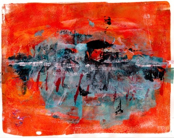 Limited Edition Print of original Acrylic Abstract Artwork - Orange Abstract.