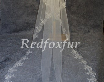 cathedral veil, wedding veil, Bridal veil, cathedral wedding veil, lace wedding veil, Alencon lace chapel veil 3m