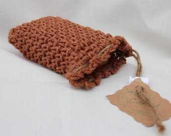 Cotton Crochet Soap Saver Brown Soap Cozy Soap On A Rope