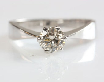 ON SALE !!! 0.35 carat Gold Diamond Engagement Ring, Solitaire 14K White Gold Ring, Women Jewelry, Size Selectable