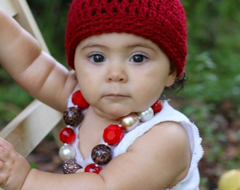 Crochet apple baby hat
