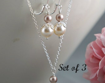 Bridesmaid Jewelry Swarovski Pearl Necklace Silver Chain Wedding Bridesmaids Gifts Set of 3 (three) Thank You Bridal Party gifts Ivory White