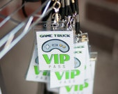 Video Game Truck Party Printable VIP PASSES - Instant download - gray chevron, lime green