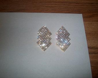 Vintage Costume Jewelry Rhinestone Clipback Earrings, Goldtone Metal, WAS 20.00 - 50% = 10.00