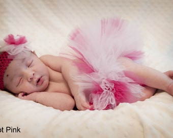 Newborn Tutu (ANY COLOR) with Matching Headband; Custom Newborn Tutu