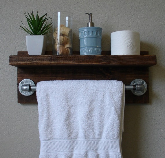 Industrial Modern Rustic Bathroom Wall Shelf With 18 By KeoDecor