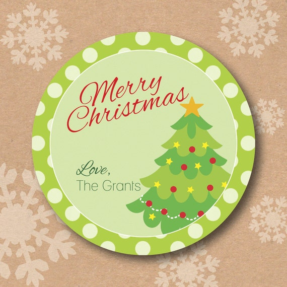 Christmas tree sticker personalized holiday labels for for Homemade baked goods for christmas gifts