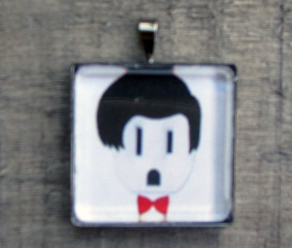 DOCTOR WHO Necklace White Jewelry for Him or Her Printed on Recycled Paper Under Glass Dome
