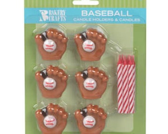 1 set of Baseball Glove Candles Birthday Cake tournament supplies Party favors cake topper cake decorations decorating crafts