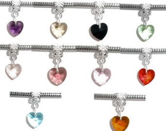 10x Mixed Dangle Heart European Charms