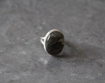 Labradorite Ring Bezel Set in 925 Sterling Silver