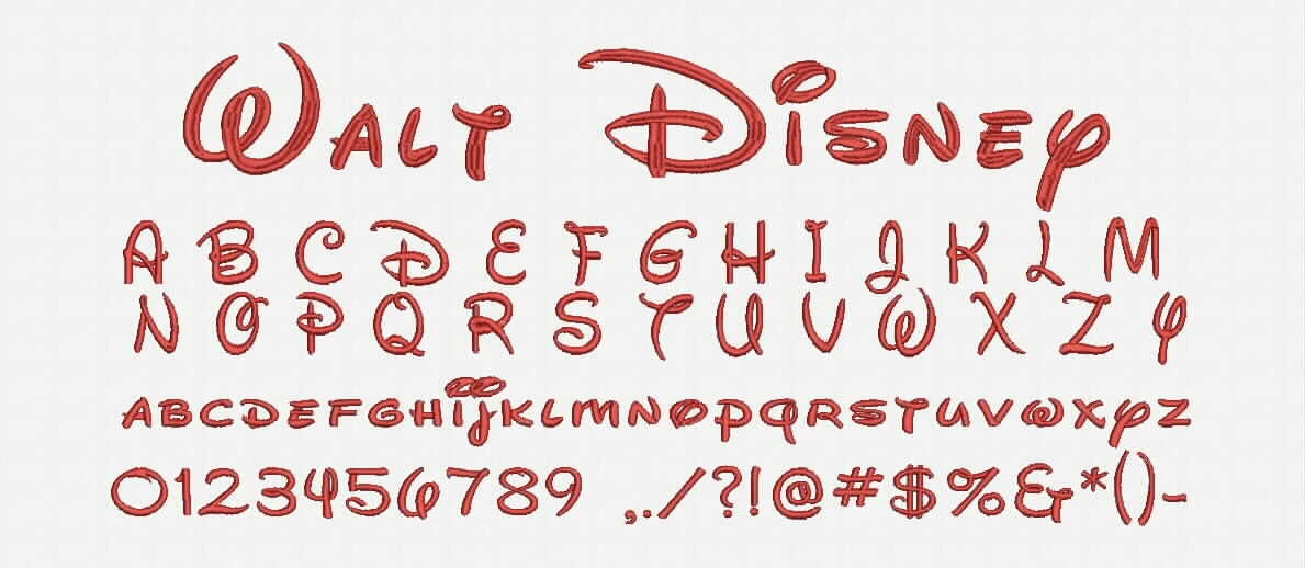 walt disney font a-z and 0