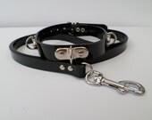 heavy duty black pvc bondage fetish slave collar and lead