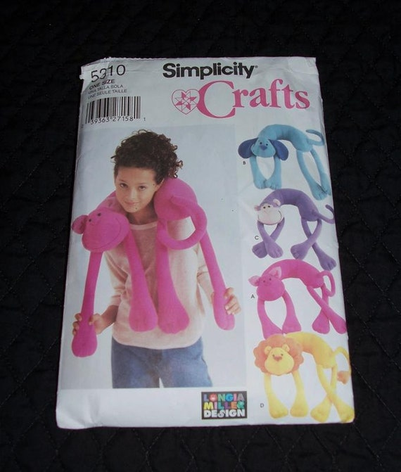 Simplicity Crafts Paper Animal Neck Pillow Pattern Cat Dog