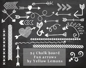 INSTANT DOWNLOAD- Chalk Board arrows with a fun twist PNG file Digital Scrapbook