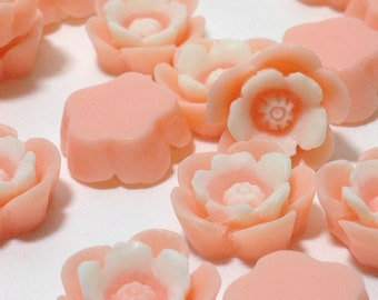 10 Pink and Cream Color Cabochons - Flat Back (Scrapbooking & Crafts)