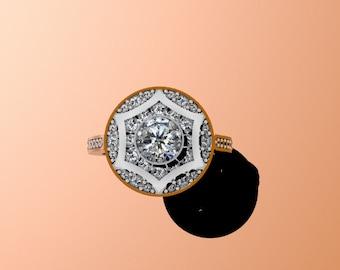 Forever One Moissanite Engagement Ring Diamon Vintage Ring 14K White Gold Fine Jewelry For Women Gifts Mother's Day Gift Ideas - V1002