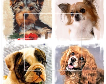 Cute Dogs - 4 Digital Collage Sheets CP-150 - 4x4 inch tiles for Scrapbooking Coasters Stickers - Instant Download