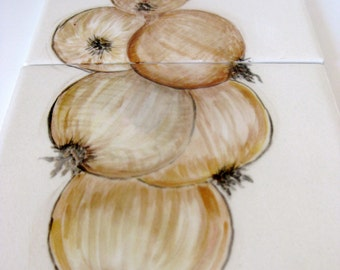 Onion Hand Painted Ceramic Tile