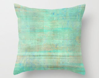 green throw pillow cover seafoam green mint brown white abstract modern home decor living room bedroom