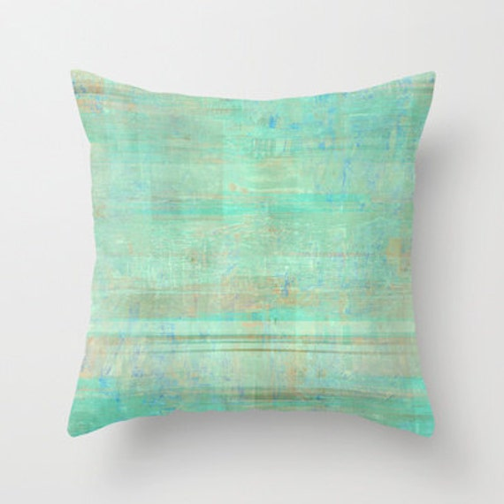 Green Throw Pillow Cover Seafoam Green Mint Brown White