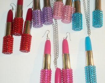 Lipstick earrings, Lipstick necklaces, Lipstick jewelry set, Rhinestone lipsticks, big earrings, dangle lipstick earrings, long earrings