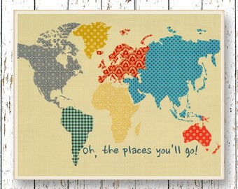 Print Oh, the Places you'll Go! Dr Seuss quote - Family Room playroom Kids wall art World map - Blue orange yellow bedroom art for children