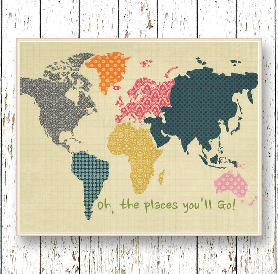 World Map Wall Art Oh The Places You 39 Ll Go Dr Seuss By