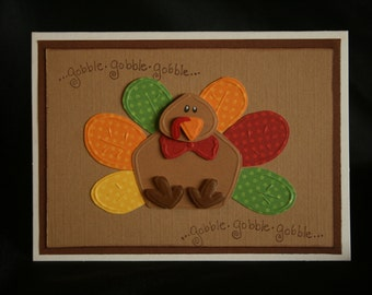 Thanksgiving Turkey Greeting Card A2 Dry Embossed Card