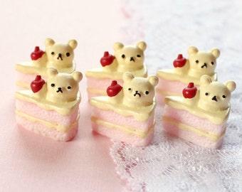 6 Pcs 3D Bear Pink Layer Cake Cabochons - 18x17mm