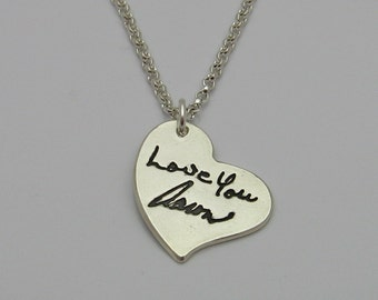 Handwriting Necklace, Silver Heart with ACTUAL Handwriting, Handwritten Heart Necklace, Signature Necklace, Wedding , Memorial, Wedding Love