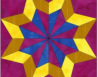 Double Star 2 Paper Template Quilting Block Pattern PDF