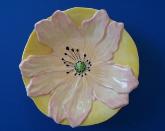 Vintage Brentleigh Ware Pin Soap Dish Pink Yellow Flower Made in England