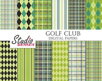 Green Papers, Golf Digital Papers, Argyle and Plaid, Printable Papers in Green,Brown and White for Card Design, Invitations, Web Design