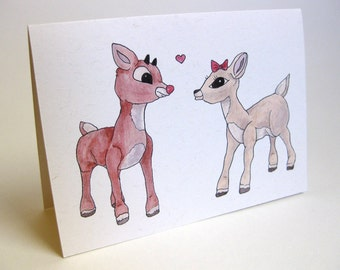 Holiday Christmas Reindeer/Rudolph Card - Handmade and printed from original ink and gouache illustration