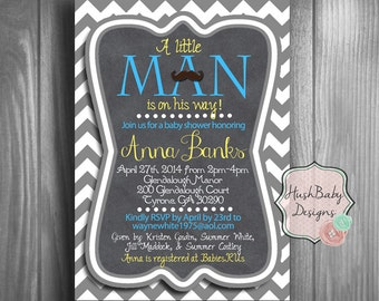 Little Man Mustache or Bowtie Baby Shower Invitation! Boy Chevron Blue Customizable!