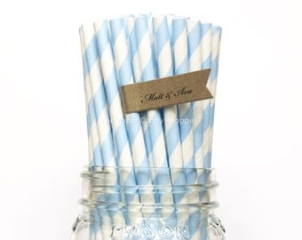 Blue Paper Straws, 25 Light Blue Striped Paper Straws, Wedding Table Setting, Baby Shower, Kids Birthday Party, Cake Pop Sticks Made in USA,