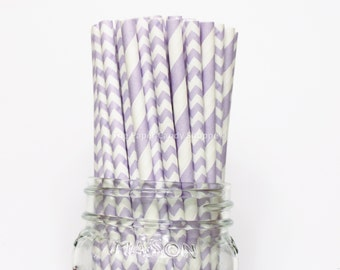 Purple Paper Straws, 25 Lilac Chevron and Stripe Paper Straws, Wedding Table Setting, Baby Shower, Kids Birthday Party,  Made in USA,