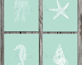 Sea Life / Underwater Life Printables - Four 8x10 Prints / Starfish / Seahorse / Seashell / Jellyfish / Nautical