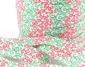 5/8 red green swirls fold over elastic, FOE headband elastic for hair ties, foldover elastic by the yard, Christmas elastic