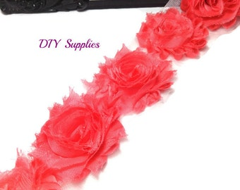 Coral - Shabby flower trim - Shabby chic flowers